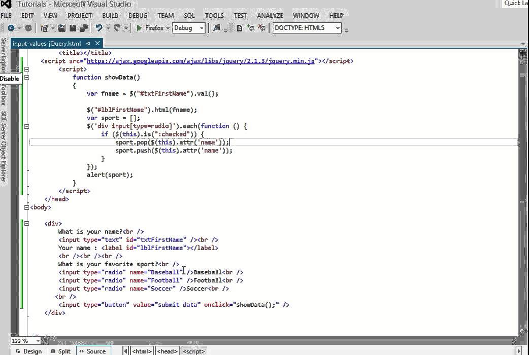 How To Get HTML Input Values Using jQuery - YouTube