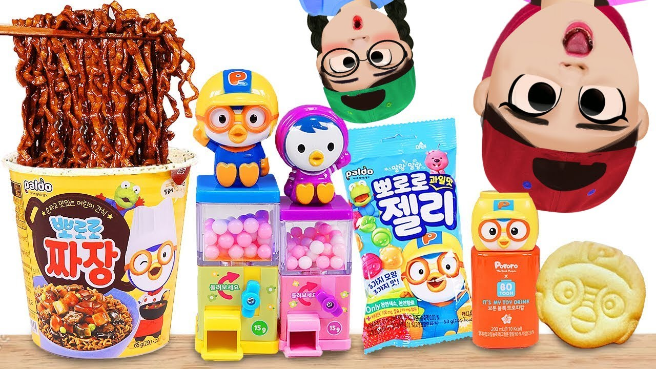 Dona 도나 animation | mukbang Pororo food candy Jelly 뽀로로 짜장면 젤리 먹방