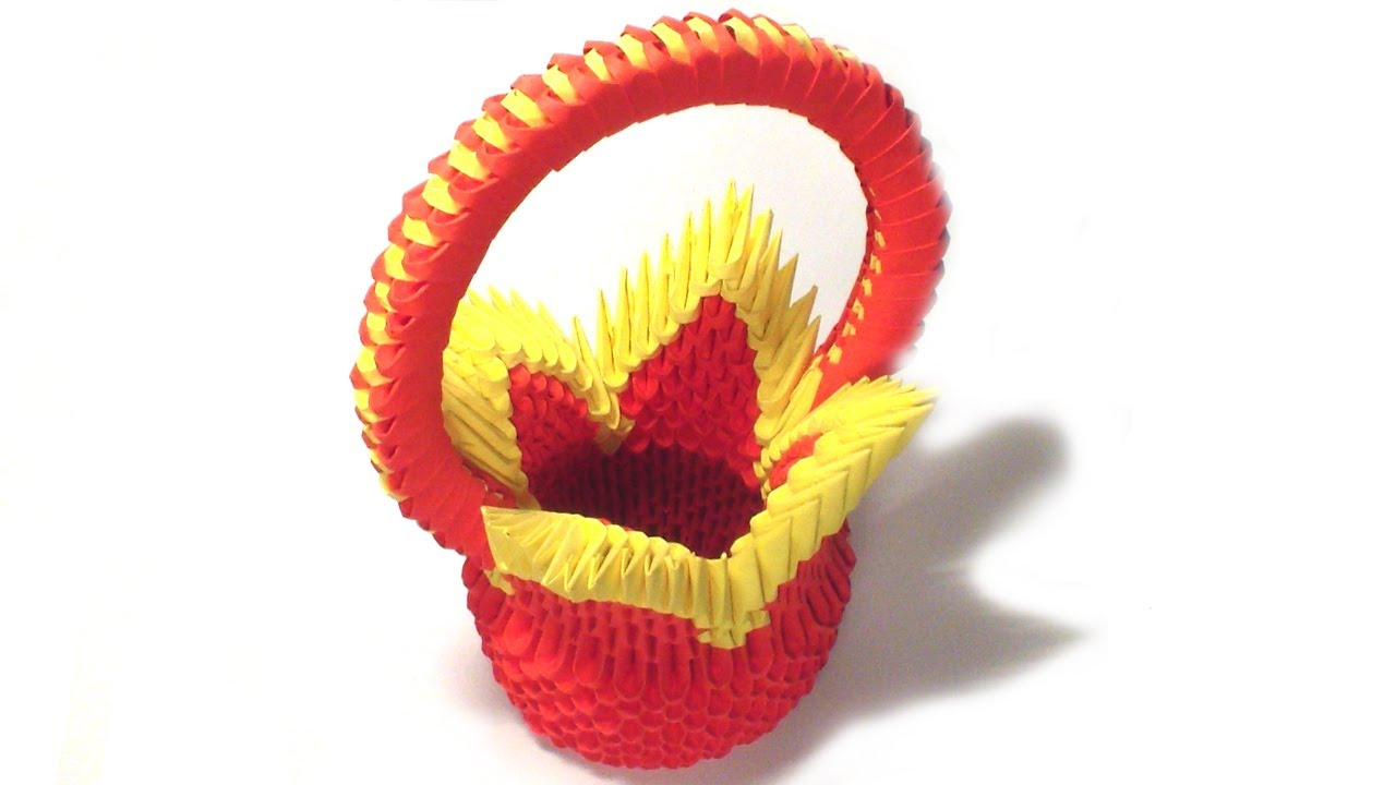 3d Origami Flower Basket Tutorial Youtube
