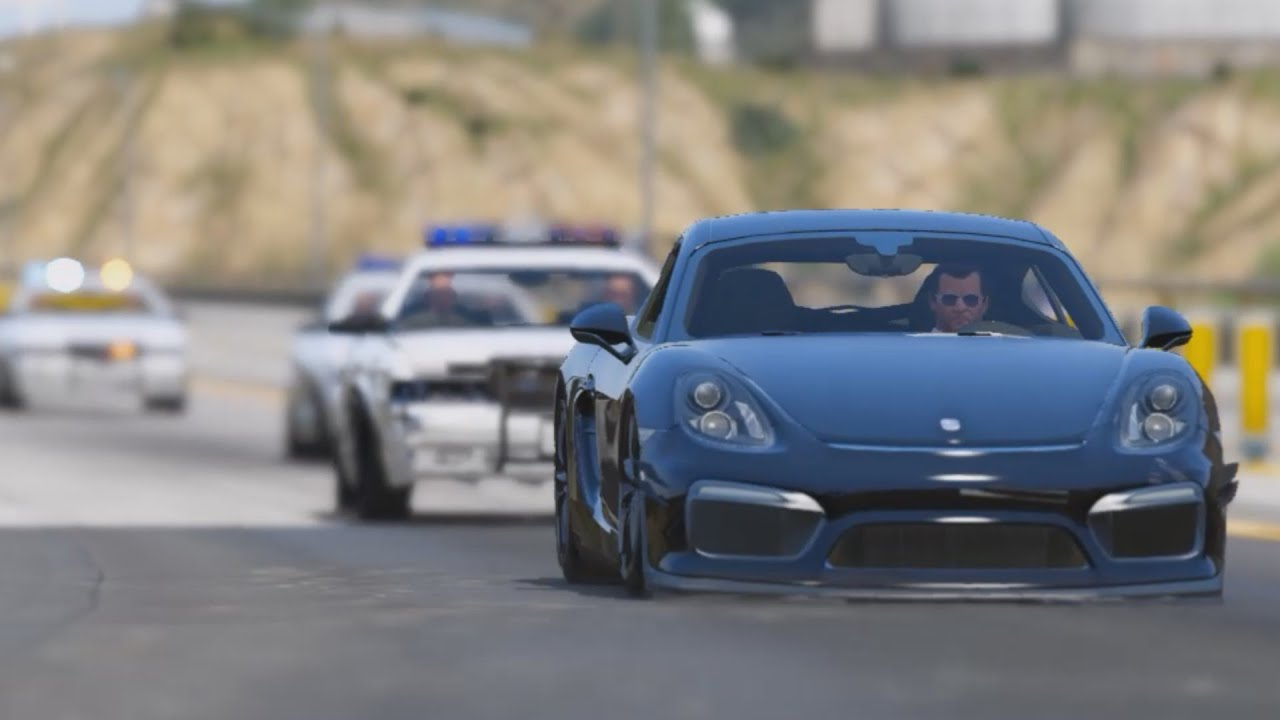 Police Car Chase Wallpaper Gta 5 2016 Porsche Cayman Gt4 Epic Police Chase