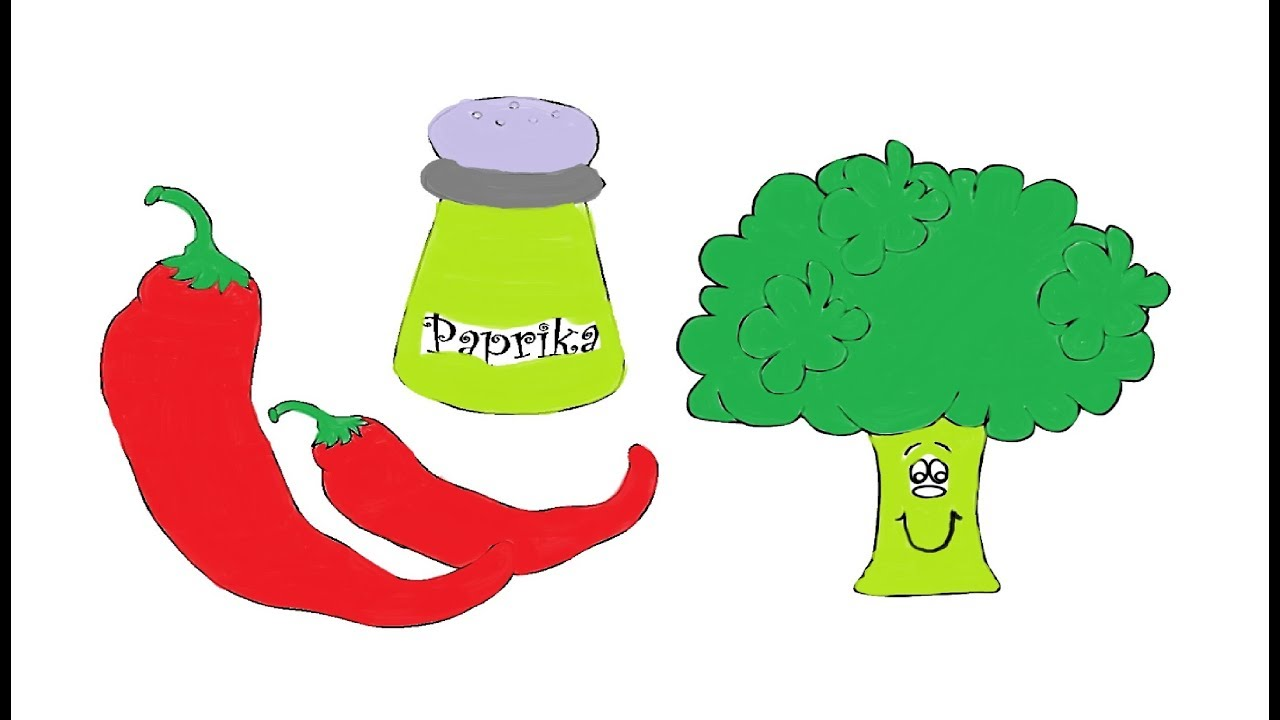 Painting Vegetable-Broccoli, Paprika | Coloring Pages for Kids ...