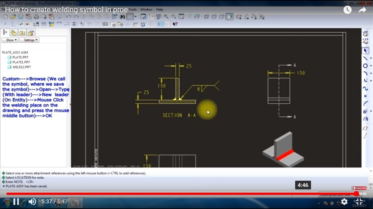How to create welding symbol in proe youtube how to create welding symbol in proe malvernweather Images