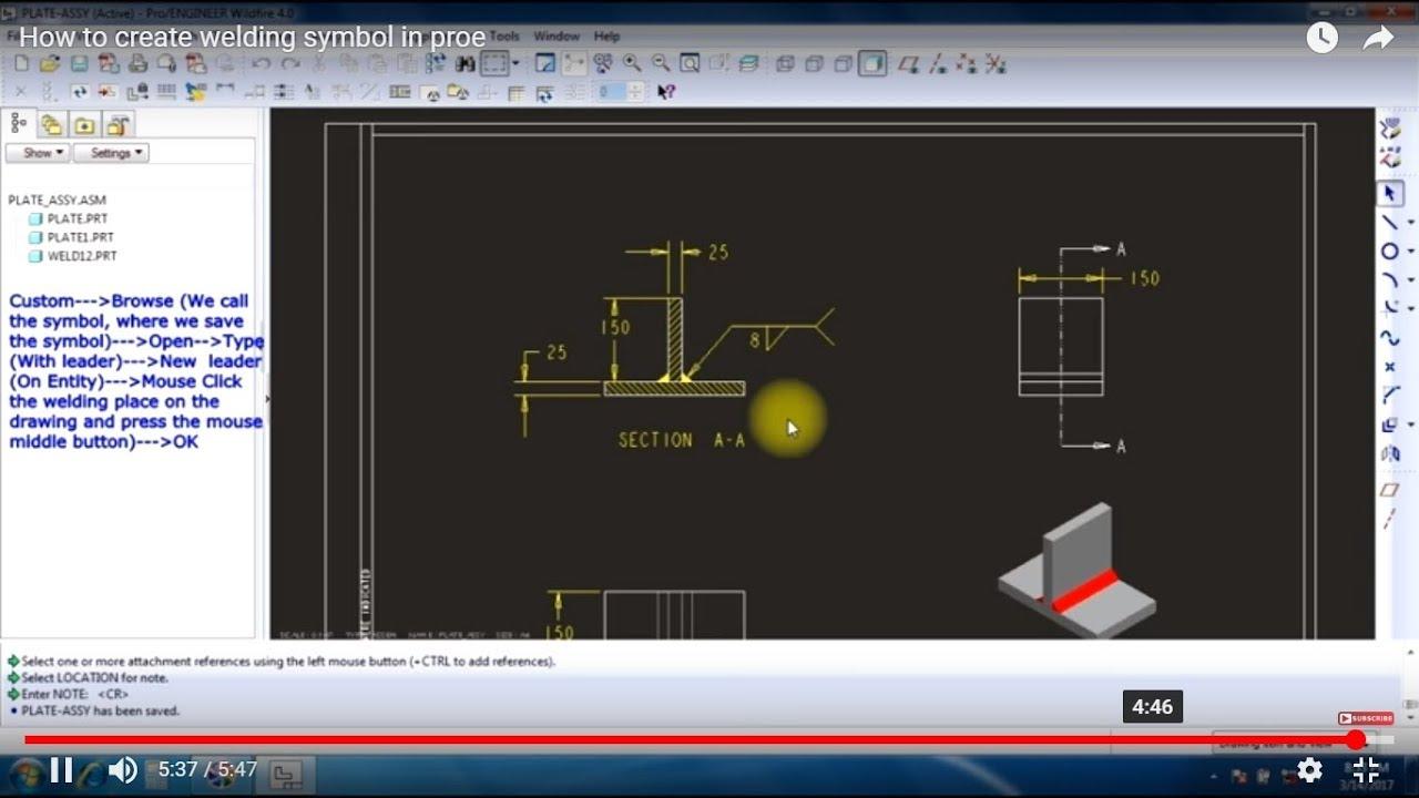 how to create welding symbol in proe [ 1280 x 720 Pixel ]