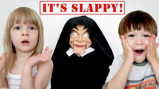 SLAPPY Plays with My PB and J Family! Slappy the Dummy visits us!!