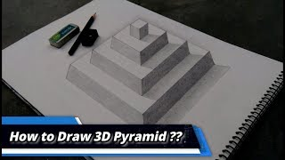HOW TO DRAW PYRAMID - Drawing 3D Step Pyramid - Anamorphic Illusion