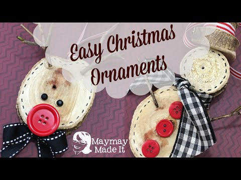 Wood Disc Ornaments Reindeer and Snowman