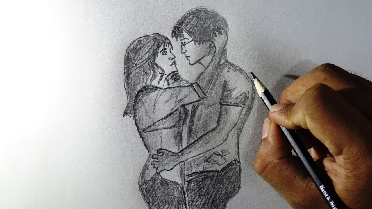 How to draw couples in love pencil drawing tracing