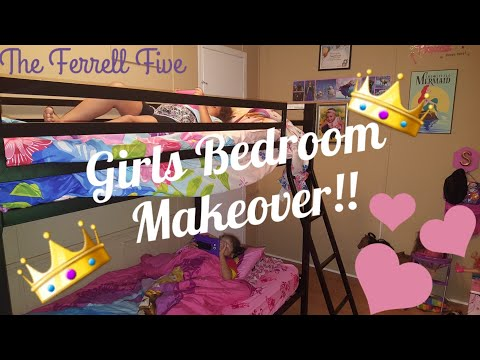 "Girls Bedroom Makeover| Mainstays Premium twin over twin bunk beds| Mainstays 6"" twin coil mattress"