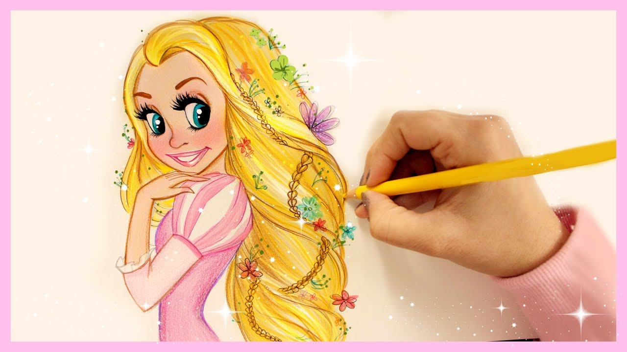 how to draw and color disney princesses hair rapunzel youtube