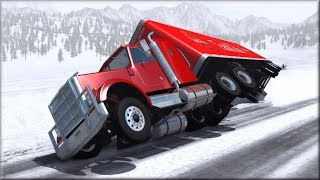 BeamNG Drive Black Ice and Aquaplaning Crashes #1