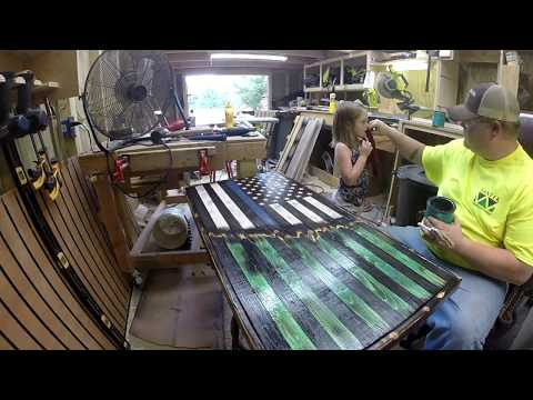 How to make a Thin Blue Line/ Army RUSTIC TORCHED AMERICAN FLAG