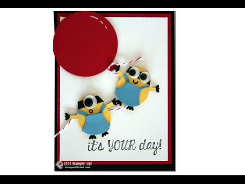 Stampin Up Minion Mania Gift Set Part 2 Birthday Card Youtube