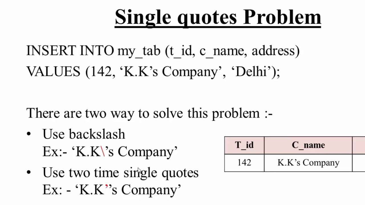 21 Single Quotes Problem In Sql Hindi Youtube