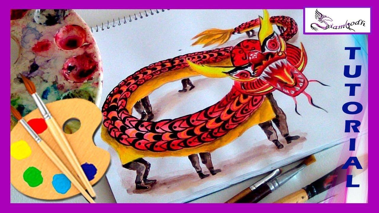 Lujo Máscara De Dragón Chino Para Colorear Bosquejo - Ideas Para ...