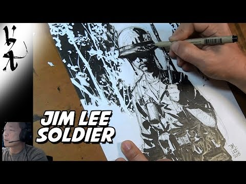 Jim Lee drawing a Soldier for Veterans Day