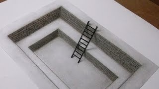 3d art drawing - Ladder inside the hole