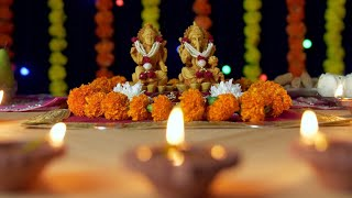 Beautifully decorated temple of Lord Ganesha and Goddess Laxmi for Diwali celebration