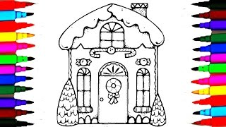 How To Draw Candy Shop l Coloring Drawing Pages Kids Candy House Videos l Learn Rainbow Colors