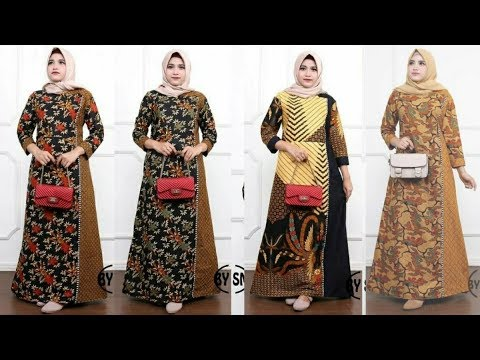 Gamis Batik Kombinasi Kain Polos Model Pesta Youtube