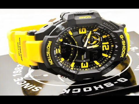 Casio GSHOCK G-Aviation GA1000-9B REVIEW | How To Set Time | LIGHT DISPLAY