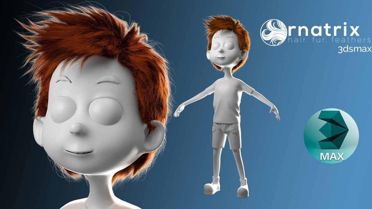 3ds max 2017 - Ornatrix Hair Cartoon Boy - Part 10 - Thủ