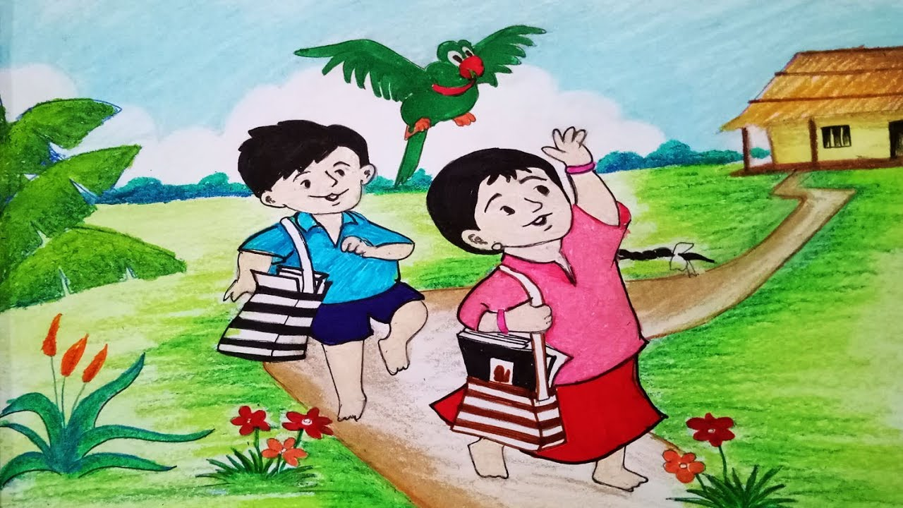 How To Draw Meena Cartoon Scenery Step By Step Easy Draw Youtube