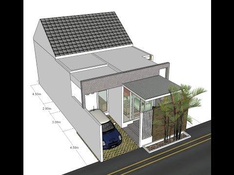 Desain rumah dengan ruang-ruang yang memanjang, lahan 7x14m