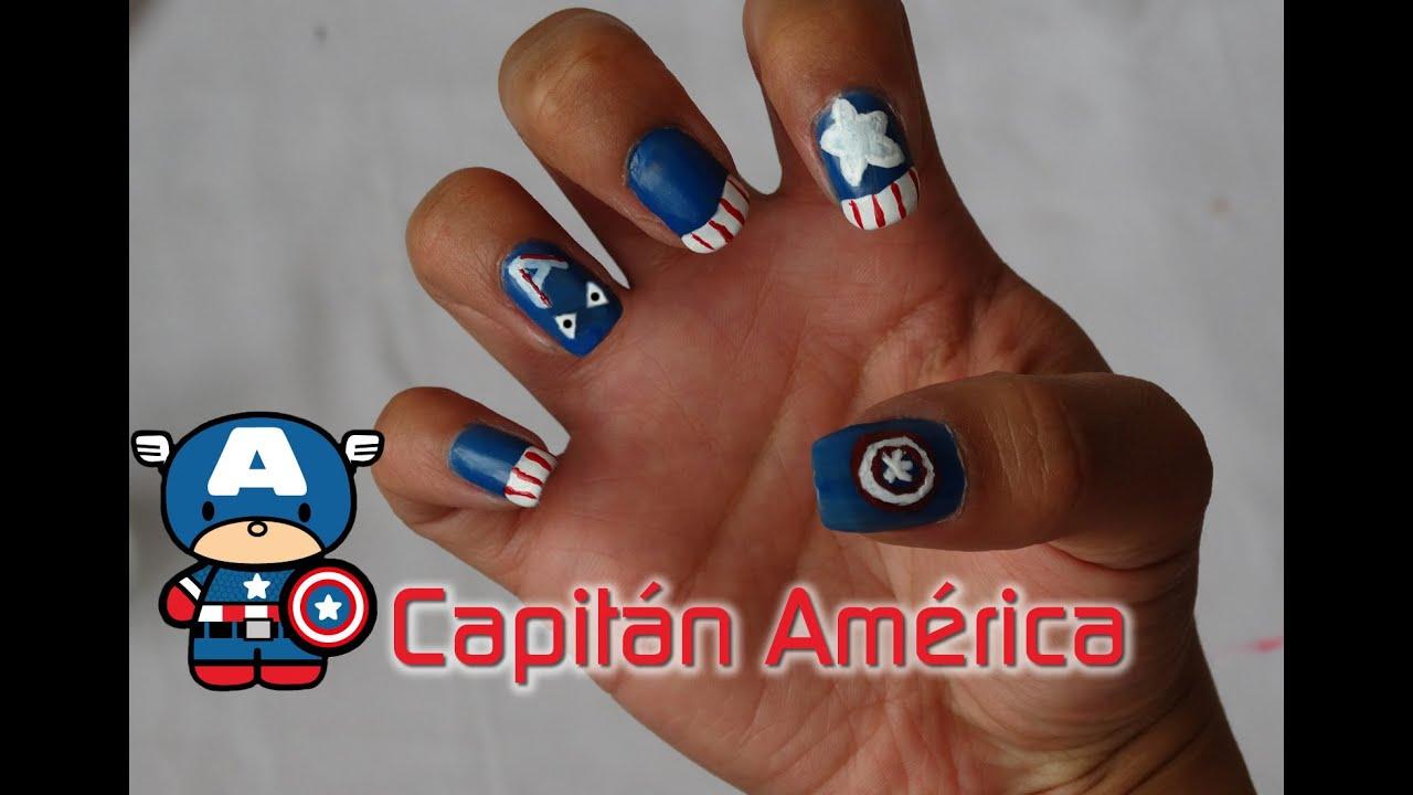 Uñas de Capitán América | Fácil - YouTube