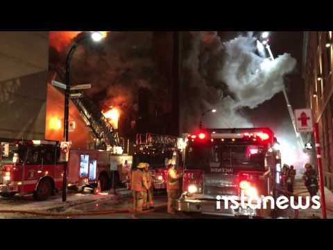 HUGE Building Fire in Montreal's Old Port (Mar 25, 2016)