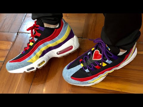 """Nike Air Max 95 QS SP Psychic Blue """"Multi Color"""" with Oversized Lace locks On Feet and Up Close Look"""