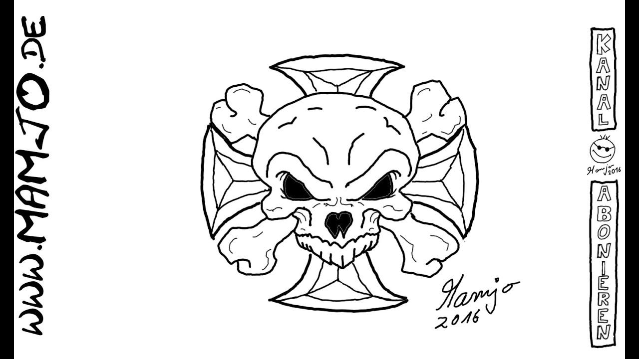 Skull Totenkopf Totenschädel einfach und schnell zeichnen ...