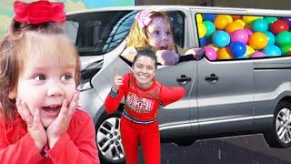 Five Kids Family play Rain Rain Go Away And Ball Pool In The Car | Nursery Rhymes & Children songs