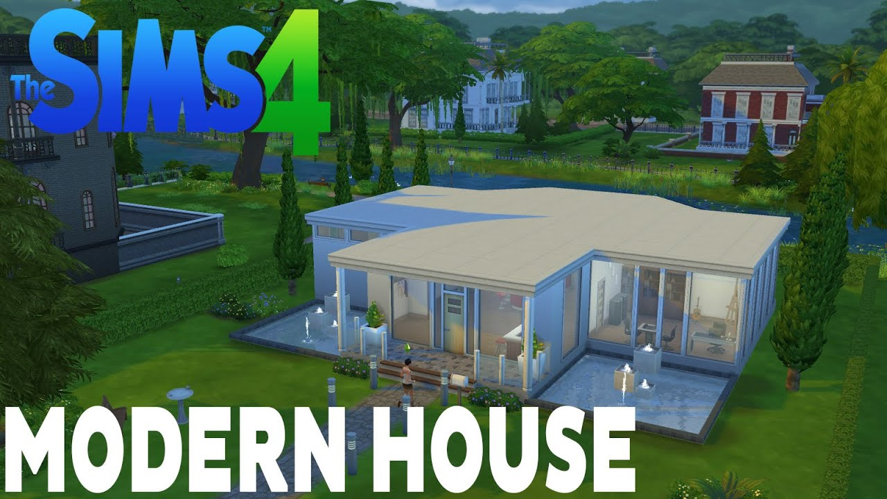 The sims 4 houses 1 modern house casa moderna youtube for Casas modernas sims 4 paso a paso