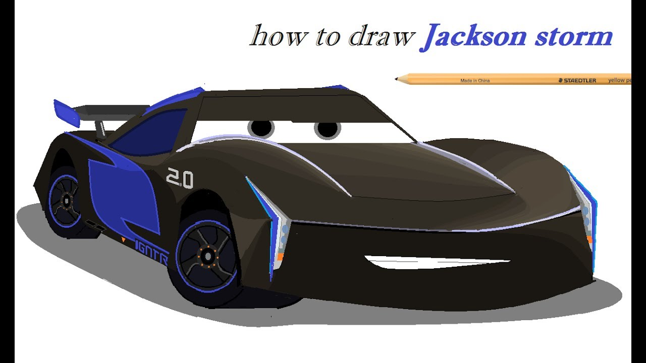 How to draw Jackson storm from cars 3 - YouTube