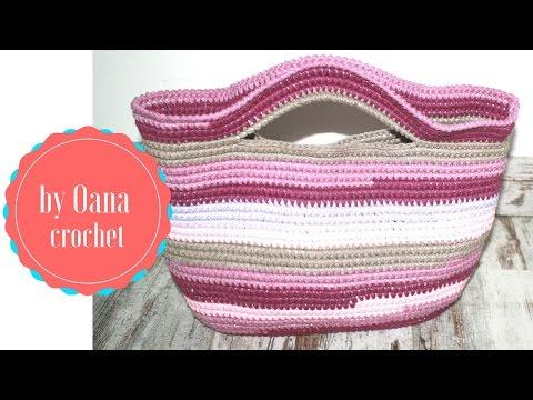 Crochet clothesline basket bag
