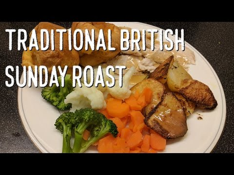 Traditional British Sunday Roast Chicken Dinner