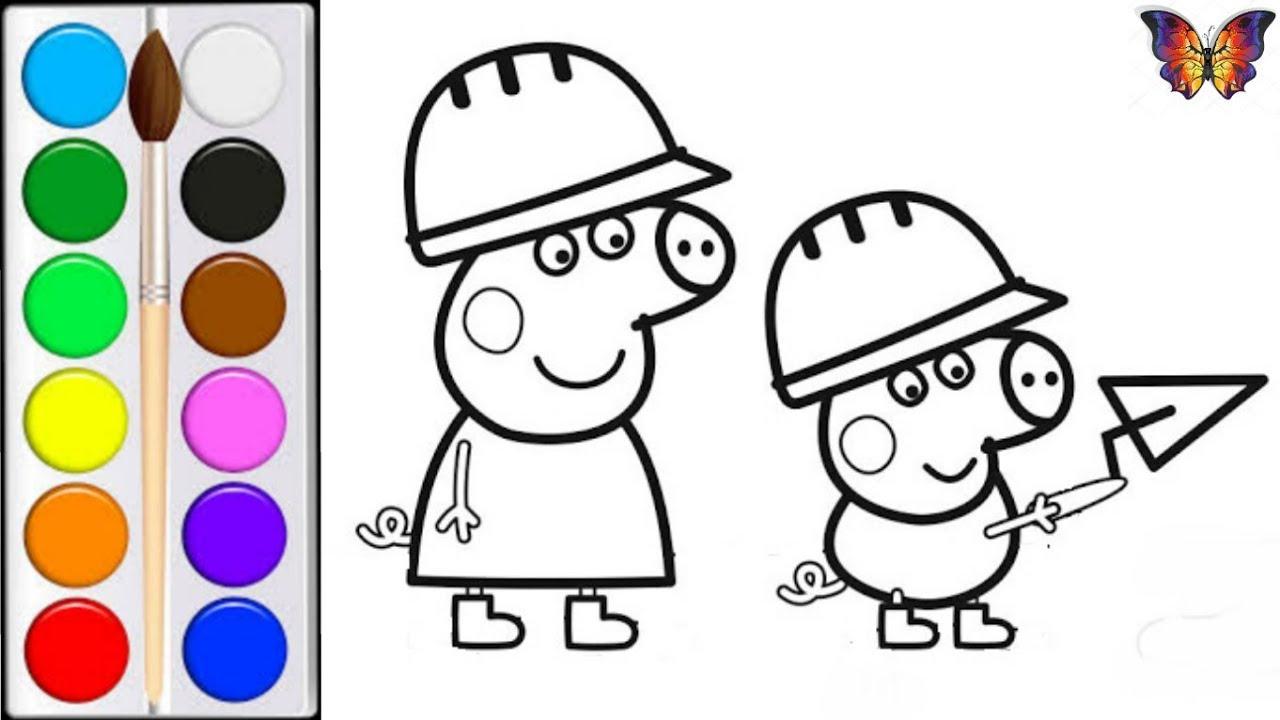 Раскраска для детей СВИНКА ПЕППА И ДЖОРДЖ ИГРАЮТ В ...