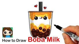 How to Draw a Cup of Boba Milk Cute