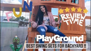 BEST SWING SET Backyard Discovery Skyfort 2 | All Cedar Wood Swing Set Review & DIY backyard tips