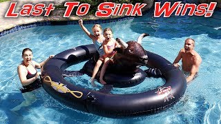 Last To Fall Off the Bull Wins! Don't Fall in the Pool!!!