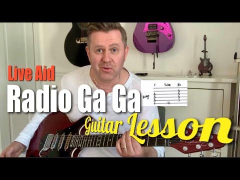Radio Ga Ga Live Aid Queen Guitar Lesson Tutorial Chords & Guitar Tab