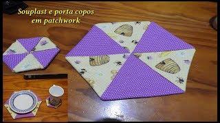 Souplast e porta copos em patchwork