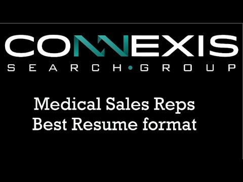Medical Sales Rep Sample Resume