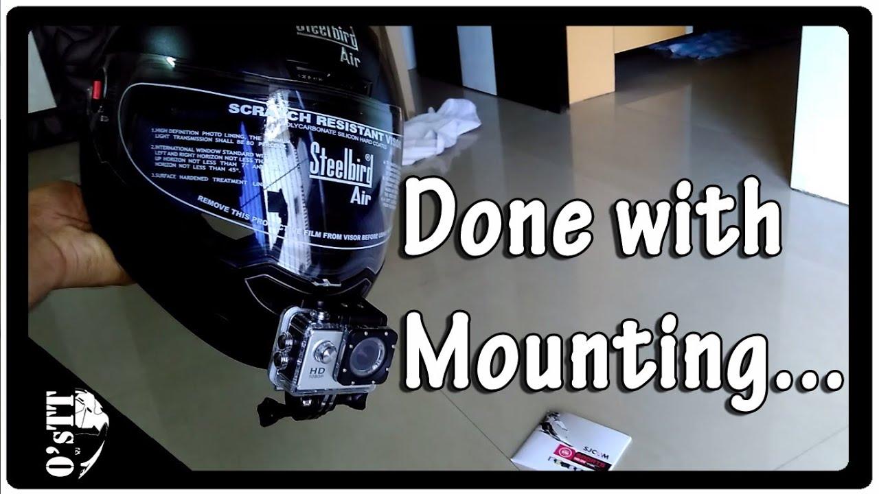 17db54b3 How to mount SJCAM / GoPro on helmet | Review of Steelbird Air Helmet
