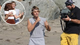 Justin Bieber Filming A Music Video At The Beach In Los Angeles