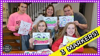 3 MARKER CHALLENGE! FAMILY EDITION!!