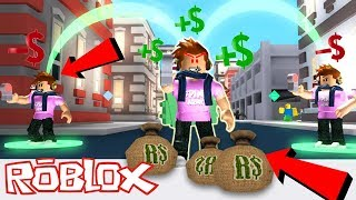 MY CHARACTER IS IN THE GAME!? *Stealing From Myself* - Roblox CashGrab Simulator