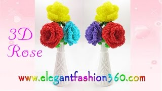 Rainbow Loom Rose 3D Valentine's - How To Loom Bands - Mother's Day Gift Idea