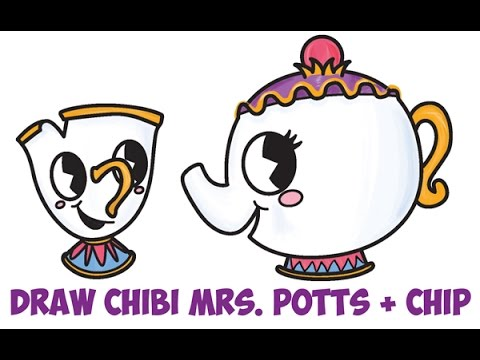 How To Draw Chip And Mrs Potts From Beauty The Beast Easy Step By For Kids Cute Chibi