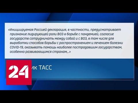 РФ внесла в ООН резолюцию, призывающую страны объединить усилия в борьбе с пандемией - Россия 24